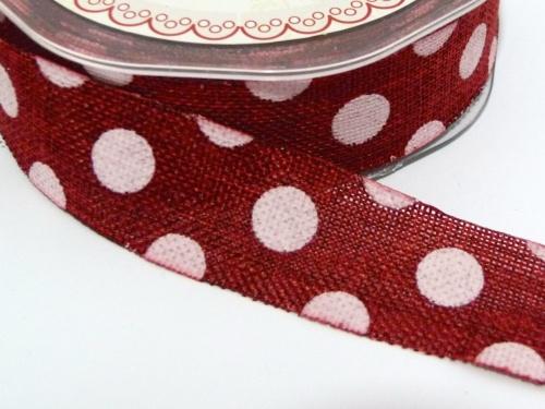 25mm wide Polka Dot Burlap Ribbon - Dark Red