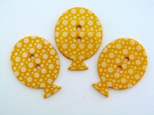 38mm Polka Dot Balloon Button - Yellow