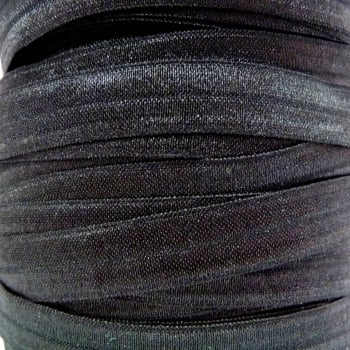 Fold Over Elastic - Pearlescent - Black