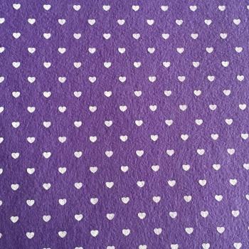Acrylic Patterned Felt Sheet - Hearts - Purple