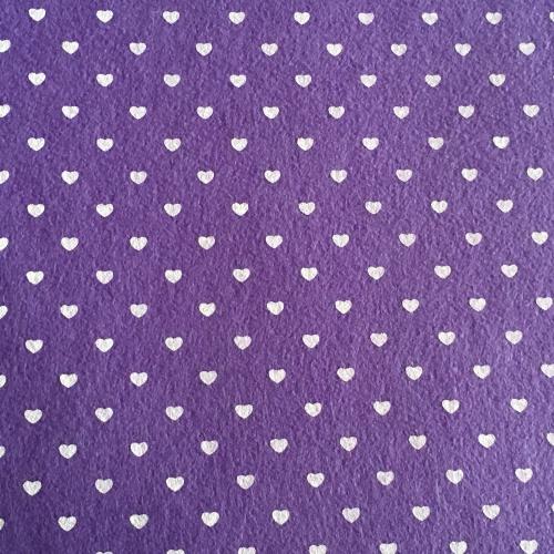 Patterned Felt - Hearts - Purple