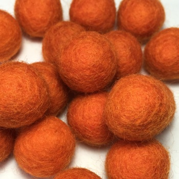 2cm Wool Felt Ball - Burnt Orange