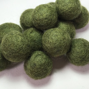 2cm Wool Felt Ball - Dark Moss