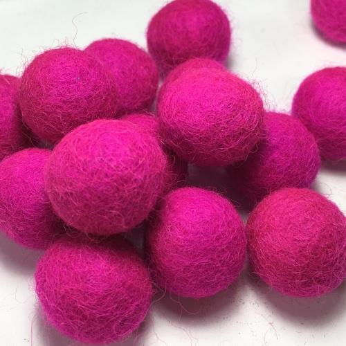 2cm Wool Felt Ball - Hot Pink