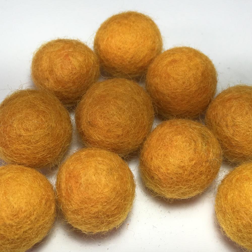 2cm Wool Felt Ball - Mustard