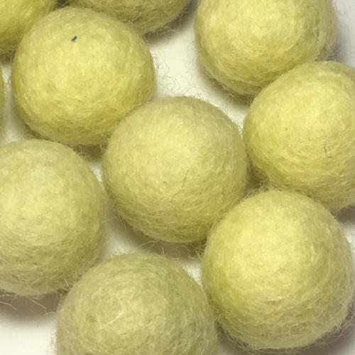 2cm Wool Felt Ball - Pastel Yellow