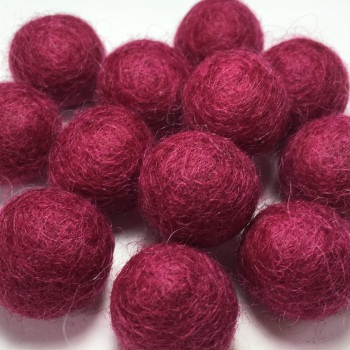 2cm Wool Felt Ball - Ruby