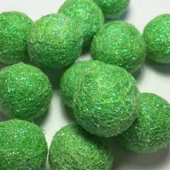 SALE 2cm Glitter Wool Felt Ball - Apple