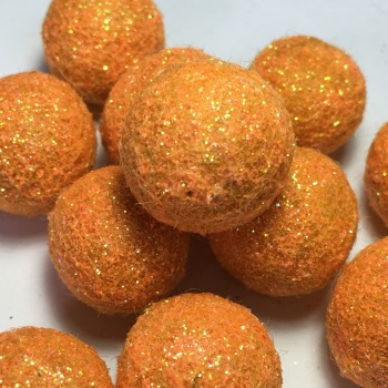 SALE 2cm Glitter Wool Felt Ball - Fizzy Orange