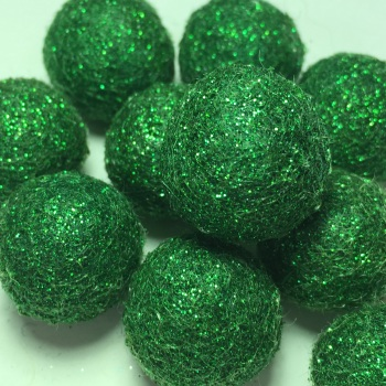 SALE 2cm Glitter Wool Felt Ball - Green