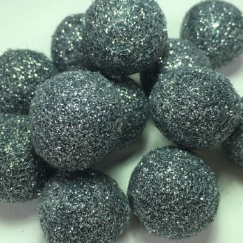 2cm Glitter Wool Felt Ball - Grey