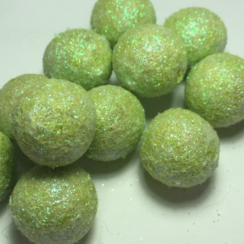 2cm Glitter Wool Felt Ball - Ice Green