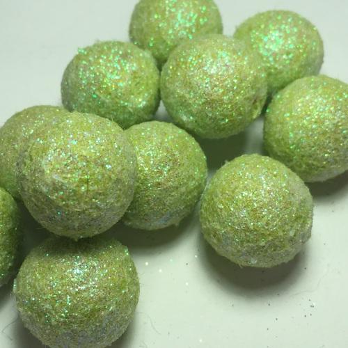 2cm Glitter Wool Felt Ball - Ice Green