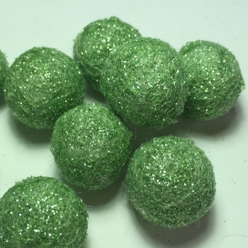 2cm Glitter Wool Felt Ball - Light Green