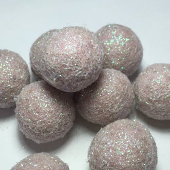 2cm Glitter Wool Felt Ball - Natural