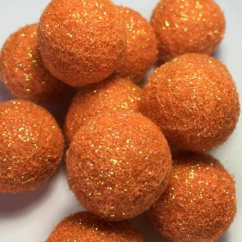 2cm Glitter Wool Felt Ball - Orange