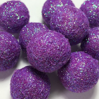SALE 2cm Glitter Wool Felt Ball - Orchid