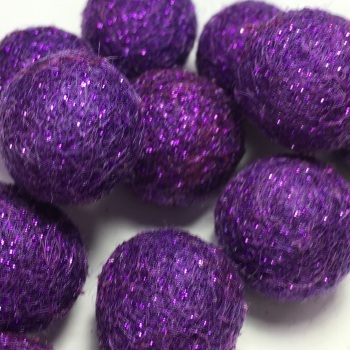 SALE 2cm Glitter Wool Felt Ball - Purple