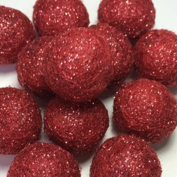 SALE 2cm Glitter Wool Felt Ball - Red