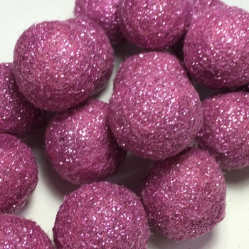 2cm Glitter Wool Felt Ball - Rose