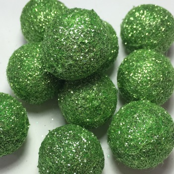 SALE 2cm Glitter Wool Felt Ball - Spring Green
