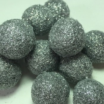 2cm Glitter Wool Felt Ball - Steel