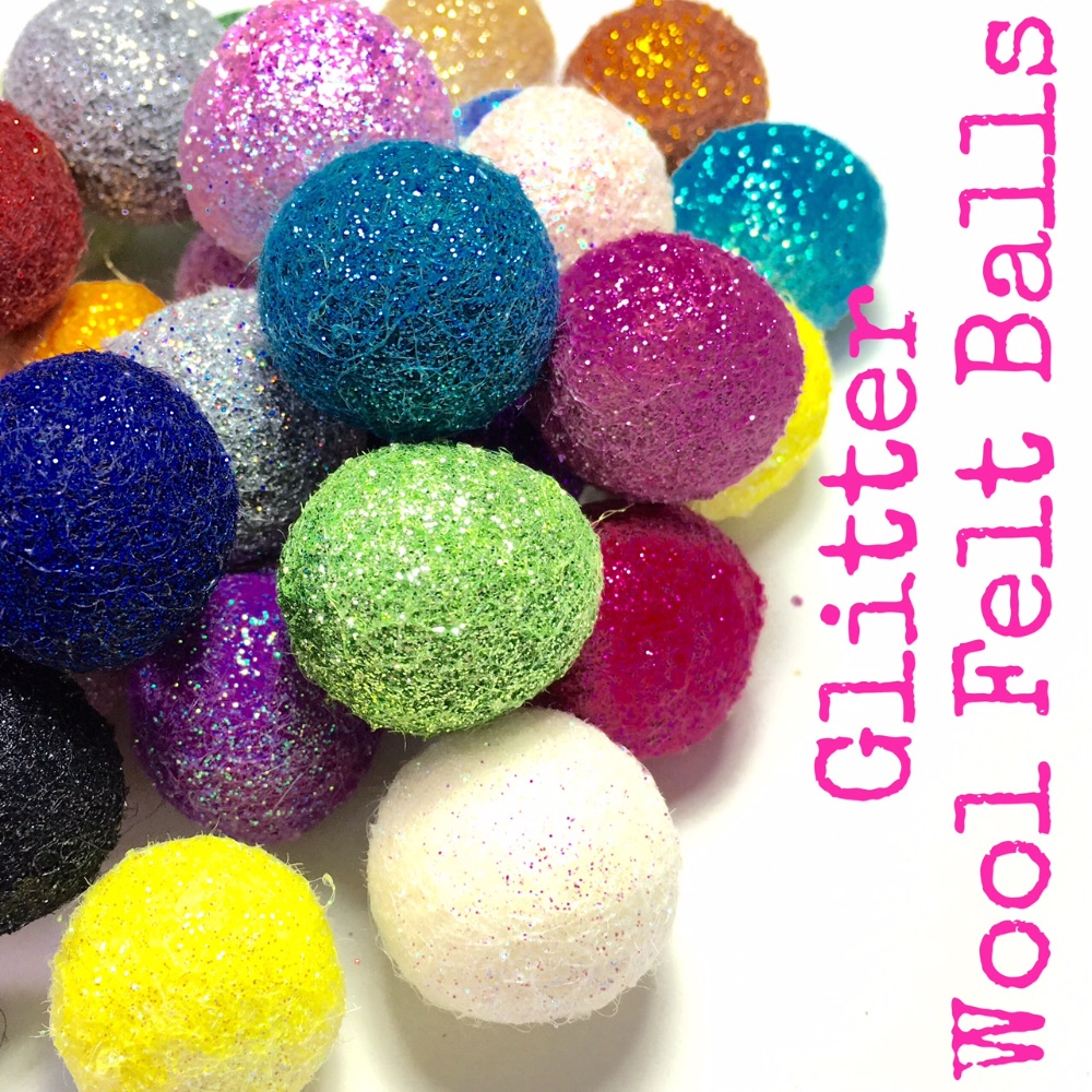 Glitter Wool Felt Balls