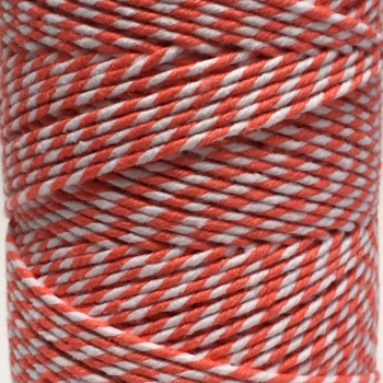 5 Metres - Bakers Twine: Coral/White