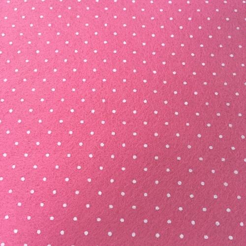 Tiny Polka Dot Wool Blend Felt - Pink