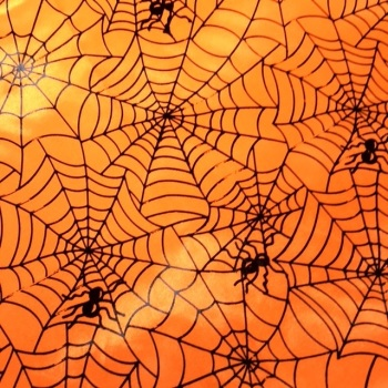 SALE FABRIC FELT SHEET - Halloween - Satin Orange/Black Cobwebs