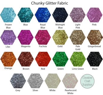 6 lengths of Die Cut Trim - Chunky Glitter Fabric