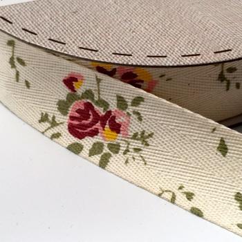 25mm wide Cotton Herringbone Ribbon - Wild Rose