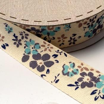 25mm wide Cotton Herringbone Ribbon - Blue Floral