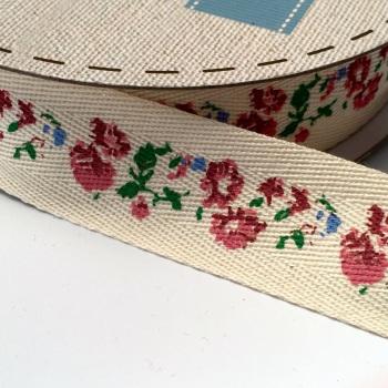 25mm wide Cotton Herringbone Ribbon - Floral Strip