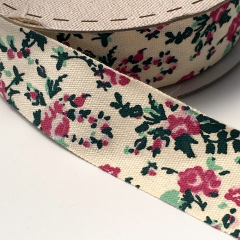 25mm wide Cotton Herringbone Ribbon - Pink Floral