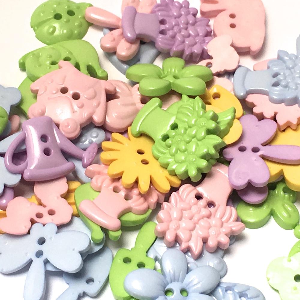 50g Garden Shaped Buttons - Pastels