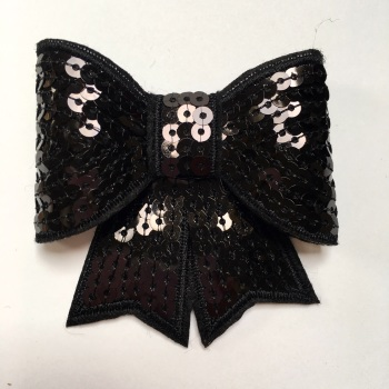 70mm Sequin Bow - Black