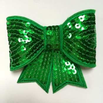 70mm Sequin Bow - Green