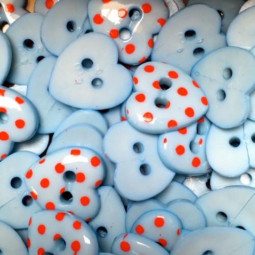 15mm Polka Dot Heart Button - Light Blue/Red Dot