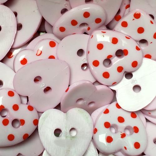 15mm Polka Dot Heart Button - Light Pink/Red Dot