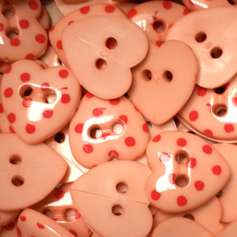15mm Polka Dot Heart Button - Peach/Red Dot