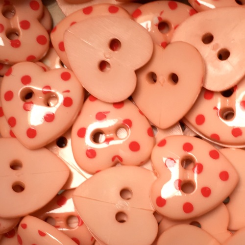 15mm Polka Dot Heart Button - Peach/Red Dot