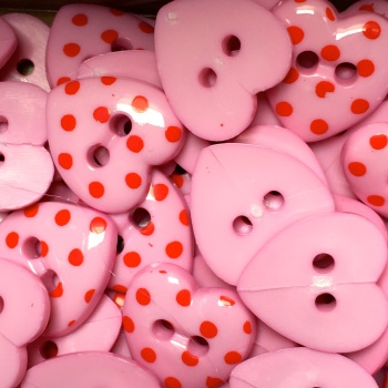 Pack of 10 - 15mm Polka Dot Heart Button - Pink/Red Dot