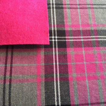Tartan Fabric Felt - Fuchsia