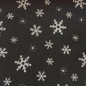 SALE Acrylic Glitter Snowflake Felt SHEET - Black/Silver