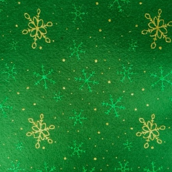SALE Acrylic Glitter Snowflake Felt SHEET - Green/Green&Gold