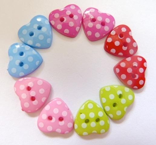 Polka Dot Heart Shaped Buttons