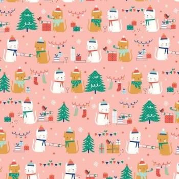 SALE Fabric  - Dashwood Studio - Festive Friends - Christmas Cats