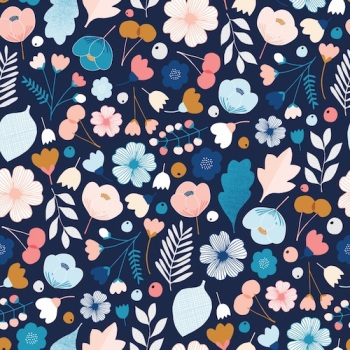 FABRIC FELT - Dashwood Studio - Millefleur - Navy Floral