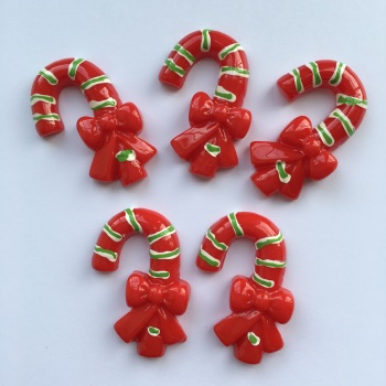SALE Christmas Resin - Candy Cane Bow